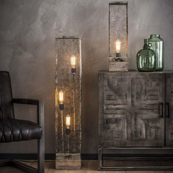 Vloerlamp rechthoek mesh houten voetje - Verweerd koper