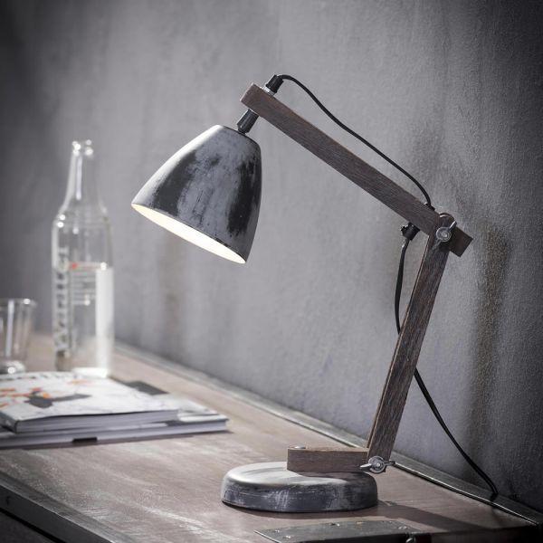 Tafellamp iron houten staander - Grijs