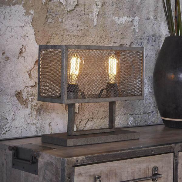 Tafellamp rechthoek raster met 2 lampen - Oud zilver