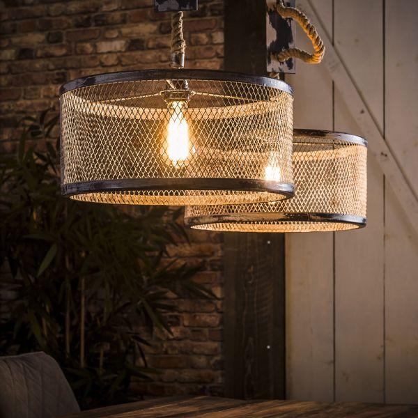 Hanglamp 2xØ40 mesh verstelbaar touw - Grijs