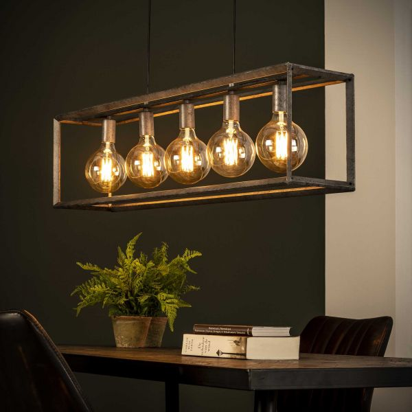 Hanglamp 5L 45 graden buis - Oud zilver