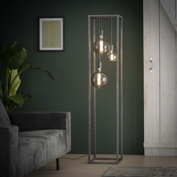 Vloerlamp pilar XL frame vierkante buis - Oud zilver