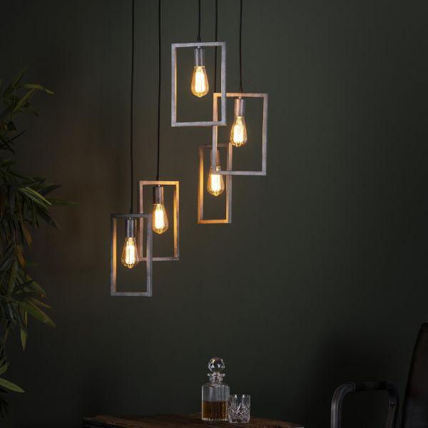 Hanglamp 5L framed getrapt - Oud zilver