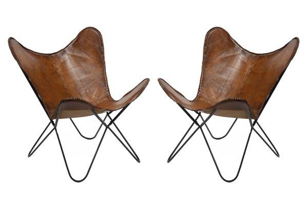 Vlinderstoel leder - Bruin (2-delige set)