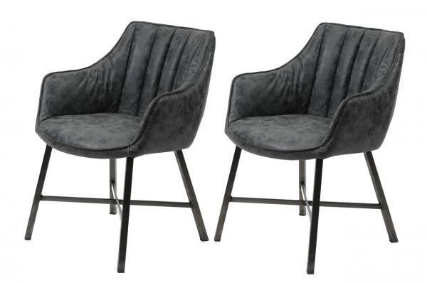 Eetkamerfauteuil striped stalen poten - zwart (2-delige set)