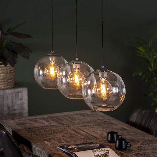 Hanglamp 3L Ø30 sphere helder glas - Oud zilver