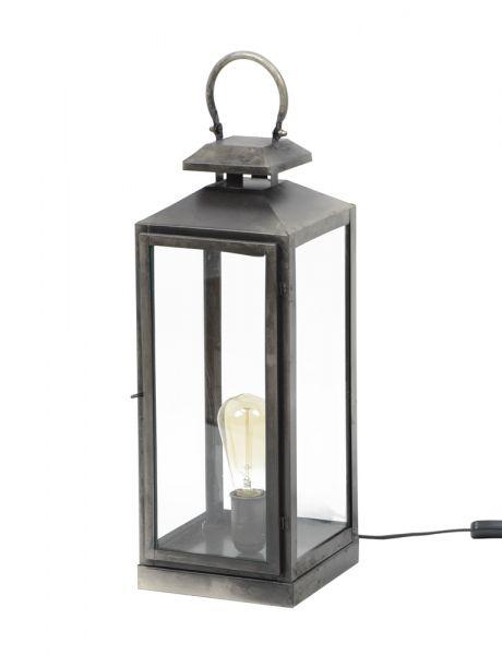 Tafellamp lantaarn - Oud zilver