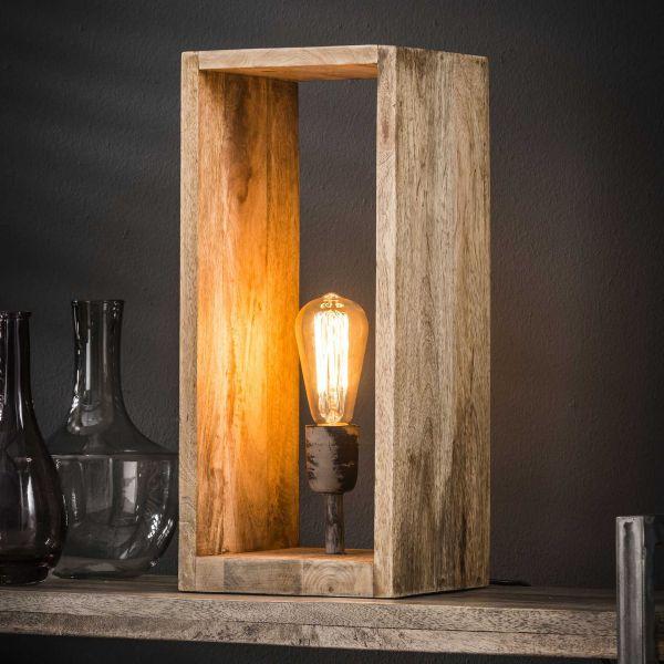 Tafellamp houten rechthoek - Massief mango naturel