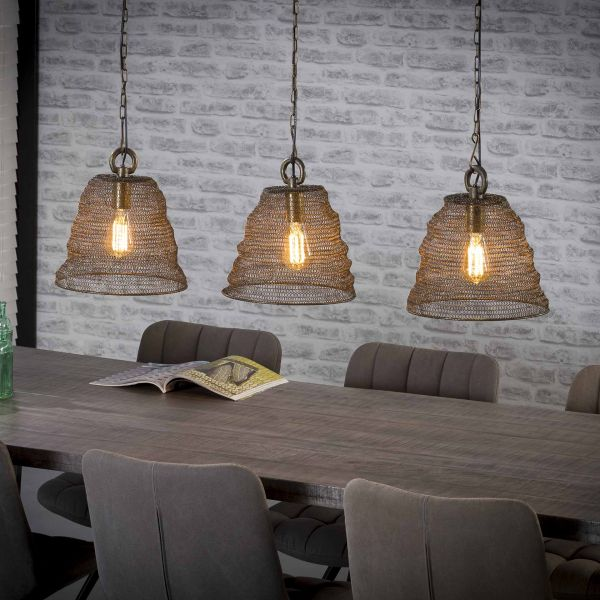 Hanglamp 3xØ30 mesh - Brons antiek