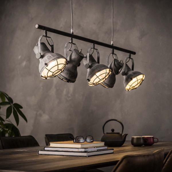 Hanglamp 5xØ16 industrieel betonlook - Grijs