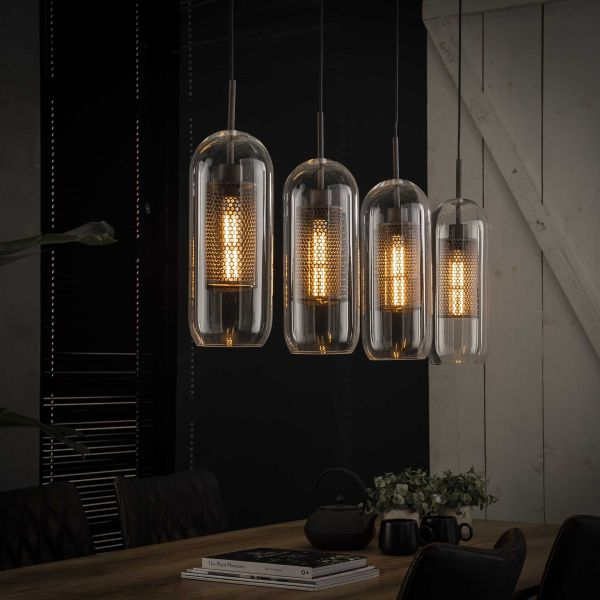 Hanglamp 4x Ø15 glas- geperforeerd staal - Oud zilver