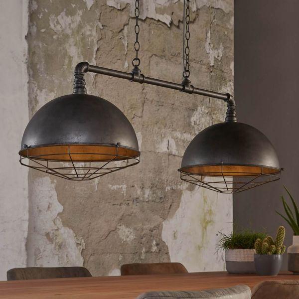 Hanglamp 2xØ40 industrial tube raster - Oud zilver