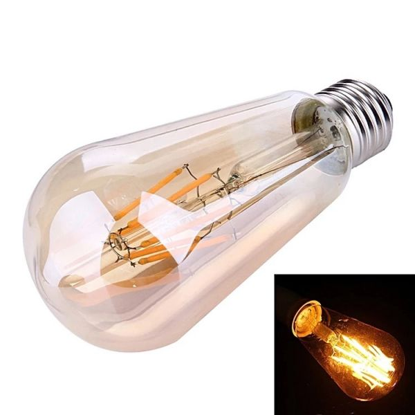 Huismerk lichtbron LED filament druppel - E27 4W 2700K dimbaar - Amberkleurig glas
