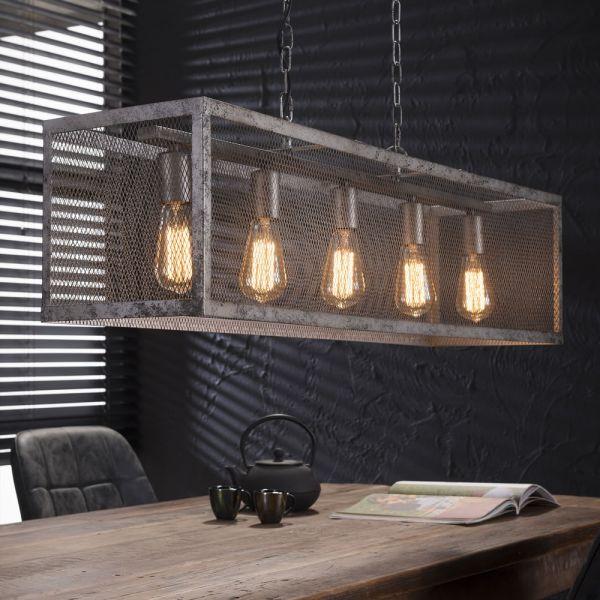 Hanglamp rechthoek raster met 5 lampen - Oud zilver