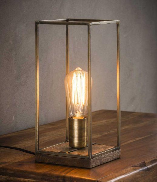 Tafellamp rechthoekige buis - Brons antiek