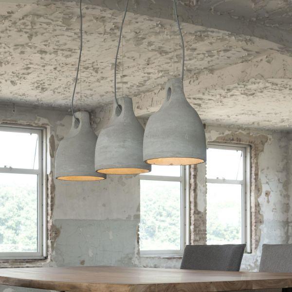 Hanglamp met 3 kappen van Ø25cm in concrete. - Concrete