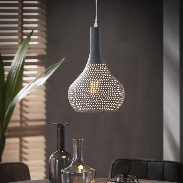 Hanglamp 1x industry concrete kegel - rijs
