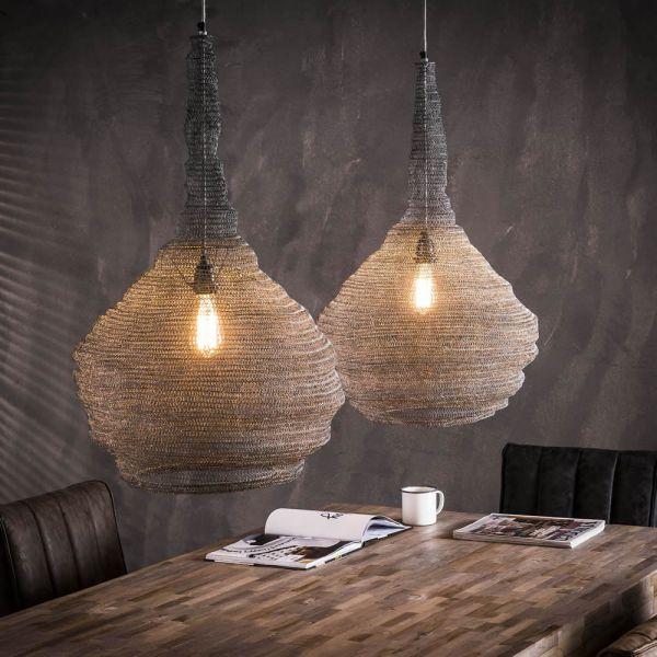 Hanglamp 2xØ45 mesh trechter - Grijs