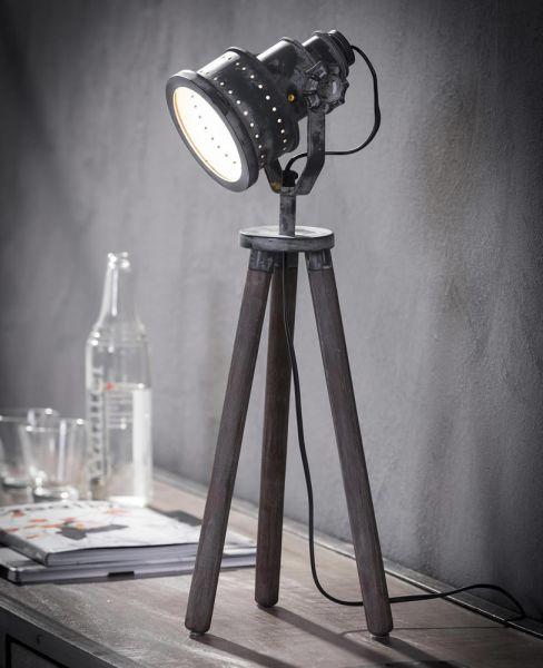 Tafellamp iron houten driepoot - Grijs