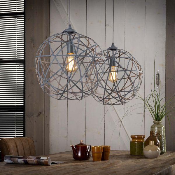 Hanglamp 2xØ40 concrete gedraaid staal - Grijs