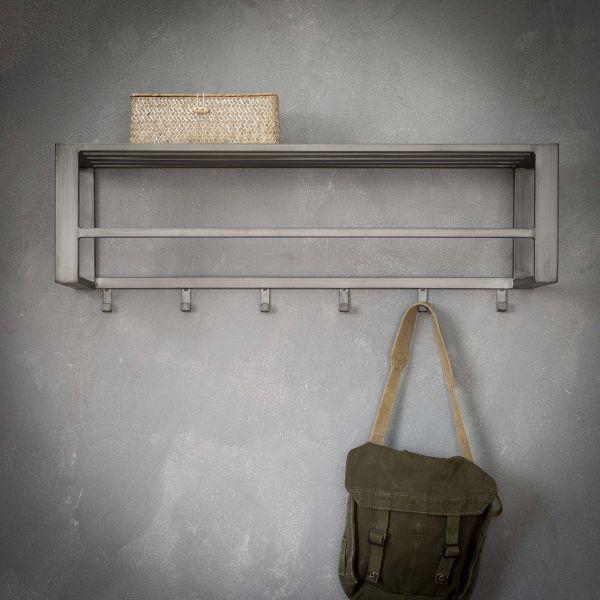 Kapstok industrial 6 haken roede -hoedenplank - Zilver