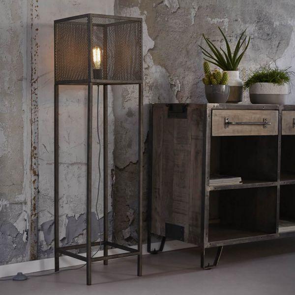 Vloerlamp 30x30 raster - Oud zilver