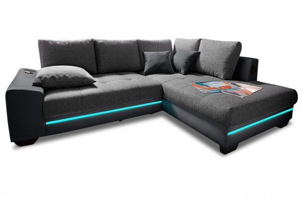 Hoekbank XL Nikita rechts - met LED en Sound - Antraciet