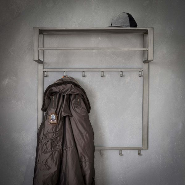 Kapstok industrial 2x6 haken roede -hoedenplank - Zilver