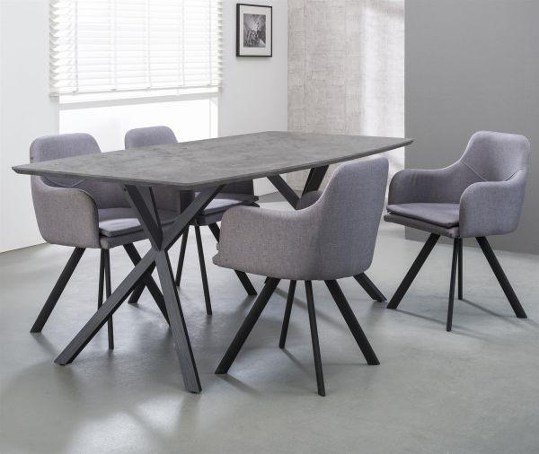 Eetkamertafel 160 ovaal blad zwart gepoedercoat frame - grijs