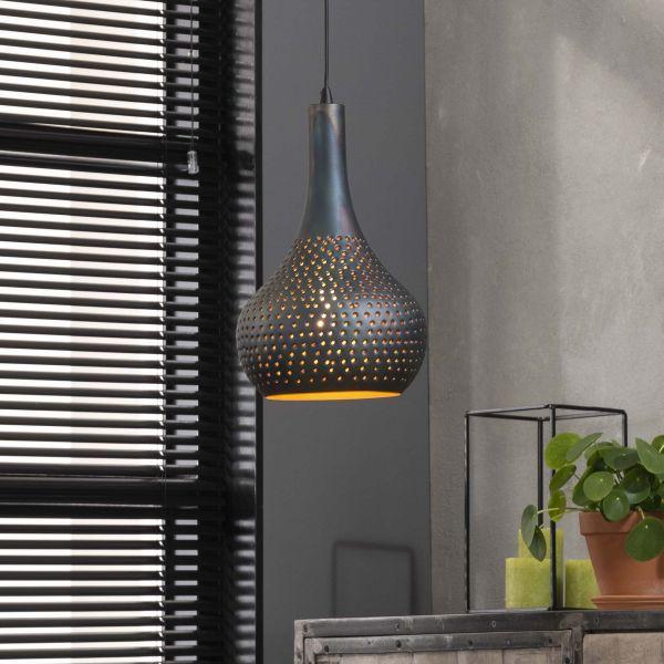 Hanglamp 1x industry concrete kegel - Zwart bruin