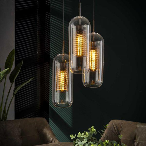 Hanglamp 3x Ø15 getrapt cilinder glas - Oud zilver