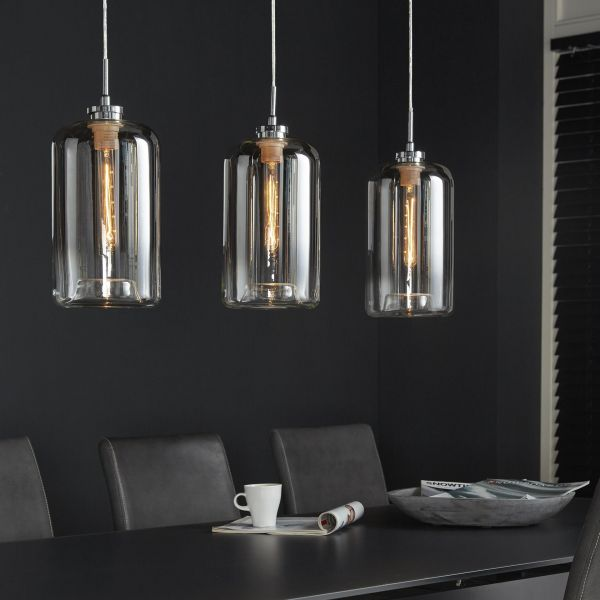 Hanglamp 3L glass metallic grey finish - Chrome