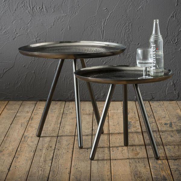 Bijzettafelset bestaande uit 2 tafels met Ø50cm en Ø58cm in staal - Zwart