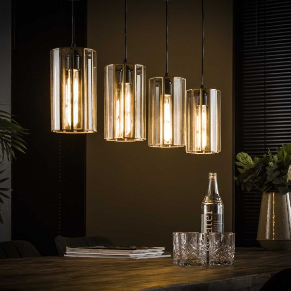 Hanglamp 4L artdeco cylinder - Brons antiek