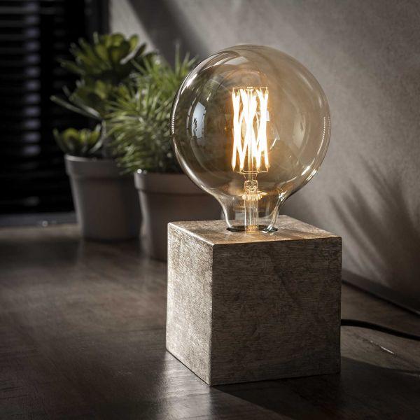 Tafellamp block-Antiek Nikkel
