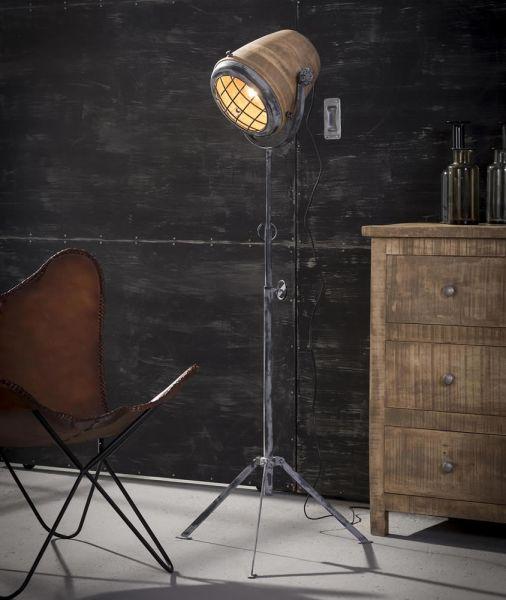 Vloerlamp iron houten kap XL - Massief mango naturel