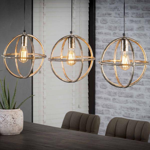 Hanglamp 3xØ30 atoom - Antiek Nikkel