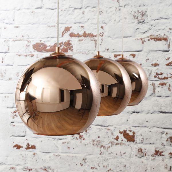 Hanglamp 3L globe - Koper
