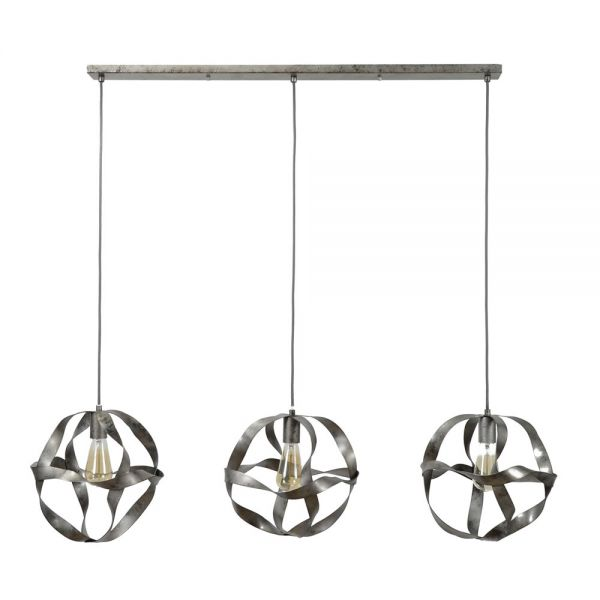 Hanglamp 3xØ30 twist - Oud zilver