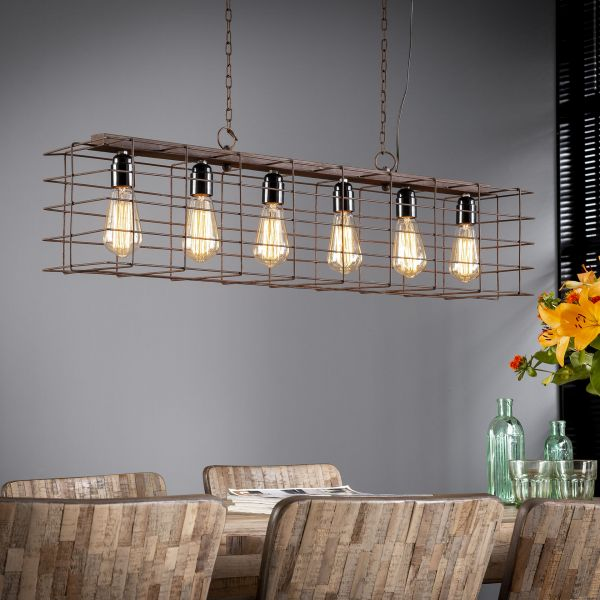 Hanglamp 6L kooi - Roestbruin