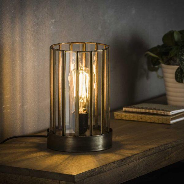 Tafellamp 1L artdeco cylinder - Brons antiek