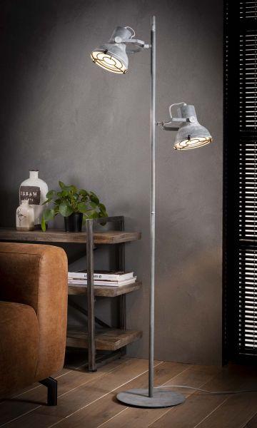 Vloerlamp 2L industrieel betonlook - Grijs