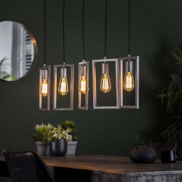 Hanglamp 5L framed - Oud zilver
