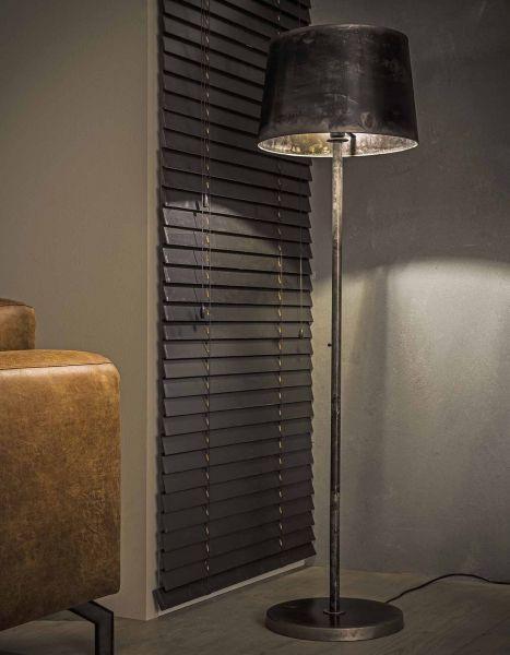 Vloerlamp industry conisch ronde kap - Oud zilver
