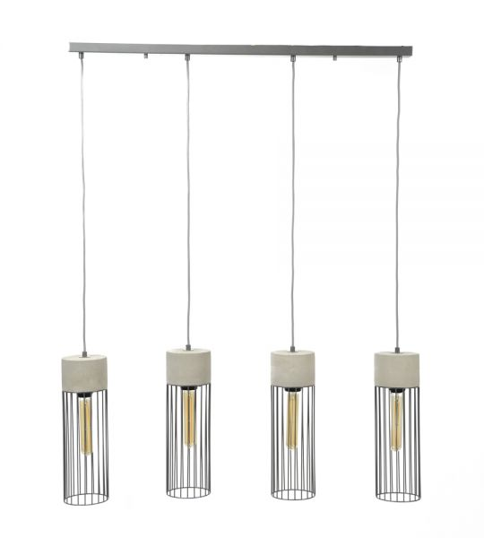 Hanglamp 4xØ12 cilinder wire frame - Concrete