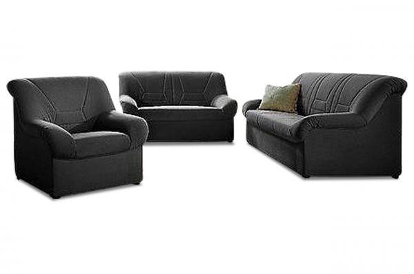 Bankstel 3+2 en fauteuil Neuss - Zwart