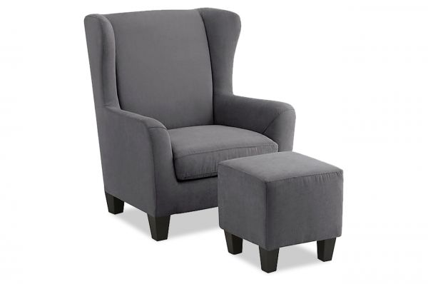 Oorfauteuil Chilly met Hocker - Grijs