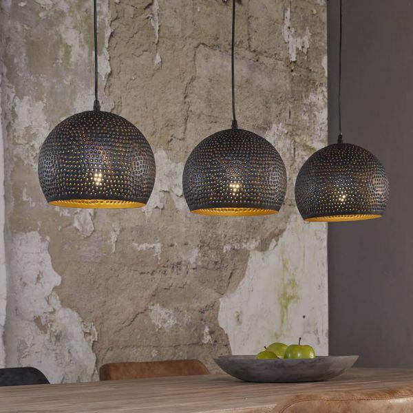 Hanglamp 3xØ25 punch bol - Zwart bruin