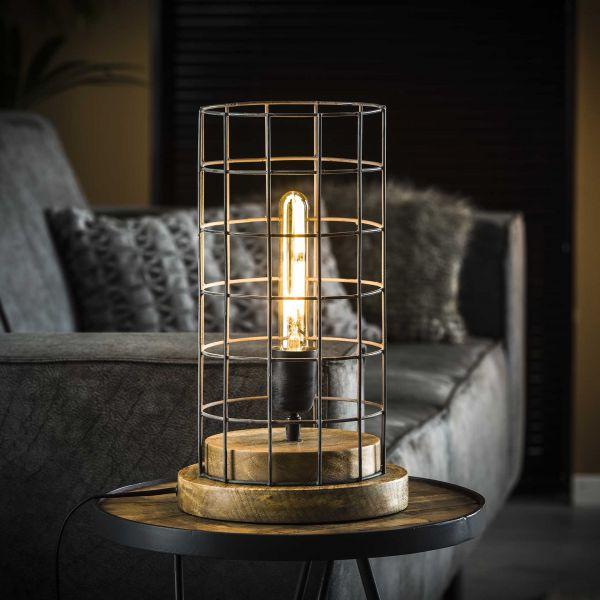 Tafellamp Ø23 gaas houten voet - Grijs