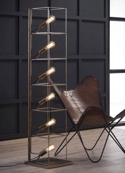 Vloerlamp rechthoekige buis met 6 lampen - Brons antiek